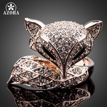 AZORA New Rose Gold Color with Rhinestones My Fox Beauty Fancy Ring TR0098(China)