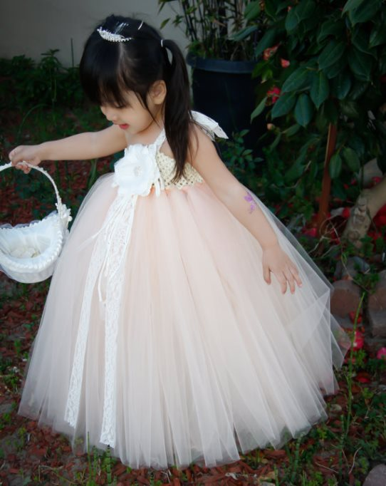 Elegant Peach with Lace Flower Girl Tutu Dress Flower Baby Girl Dress For Wedding Birthday Party Festival Size 2T-8Y<br><br>Aliexpress