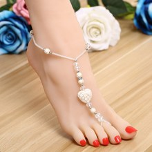 ZOSHI 2017 One Pcs Long Beach Summer Vintage Ankle Bracelet Sandal Sexy Leg Chain Female Boho White Heart Stone Anklet Jewelry