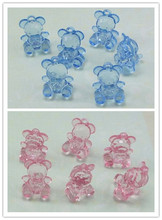 Lucia Craft 12pcs 20MM Pink blue Acrylic Bear Pattern  hang up beads DIY Decoration 028035(19)