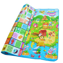 Baby Crawling Play Mat 2*1.8 Meter Climb Pad Double-Side Fruit Letters And Happy Farm Baby Toys Playmat Kids Carpet Baby Game(China)