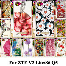 Silicone Plastic Case For ZTE Blade V2 Lite S6 Q5 Phone Bag Covers Q5-T A450 Case For ZTE Blade S6 Q5 V2 Lite Flower Shell Cover
