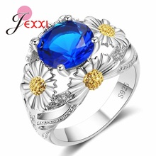 JEXXI 2017 New Stylish Chrysanthemum Jewelry for Women Best Gift Solid 925 Sterling Silver Ring Round Blue Green Red Crystal(China)
