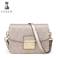 FOXER Brand 2017 Women's Leather Messenger Bag High Quality Girl Snap Crossbody Bags for women Female Shoulder bags(China)