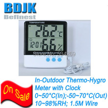 Free Shipping In-Outdoor Digital Humidity and Temperature Meters with Clock & Sensor Wire