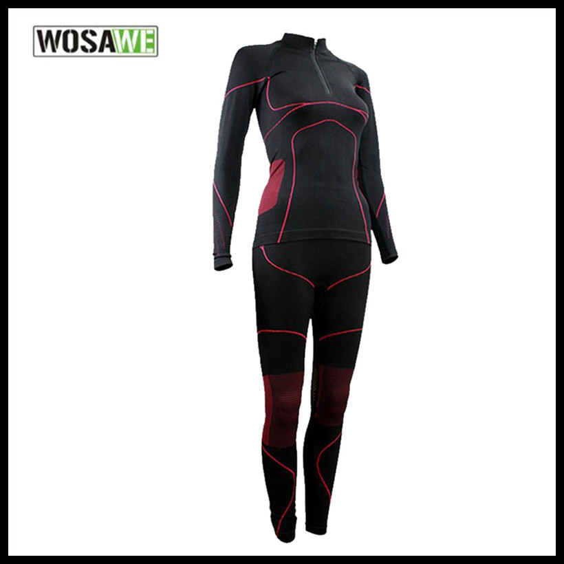WOSAWE Women Base layer windproof Jersey Comfortable Outdoor Sports Openwork Thermal Underwear Set Size S-L<br>