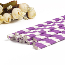25PCS Party Paper Drinking Straws Event & Party Supplies Pub Club Birthday Prom Wedding Party Decoration Purple(China)