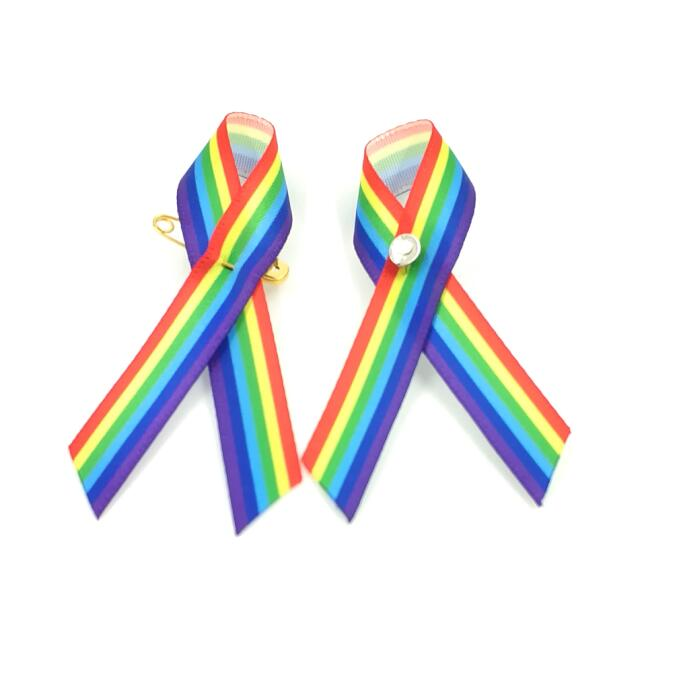 Rainbow Ribbon Gay Pride Ribbon Choice of Width /& Free Postage