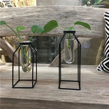 Creative iron frame transparent glass vase Decoration Office coffee table creative water culture green planting vase
