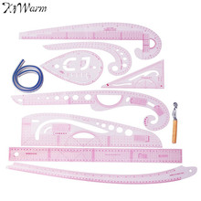 KiWarm 9Pcs Plastic French Curve Metric Sewing Ruler Measure For Dressmaking Tailor Grading Curve Ruler Pattern Design Making