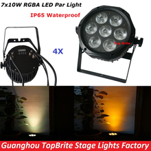 4XLot High Quality LED Par Light 7X10W RGBA 4IN1 Waterproof Led Par Lights Professional Outdoor LED Par Cans 100-240V Free Ship