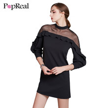 Popreal Floral Crochet Shoulder Yarn Shoulder Fashion Flounce Dress Long Sleeve Sexy Chiffon Cut Out Casual Womens Dresses(China)