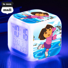 DORA the EXPLOR LED 7 color Flash Digital Alarm Clocks Brand la casa mall wekker reveil Night Light reloj despertador Watch