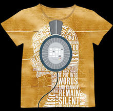 Track Ship+Vintage Retro Good Feeling T-shirt Top Tee Naughty Number Character Girl Listen to the Music Headset 0829(Hong Kong)