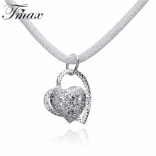 2017 Necklaces&Pendants Hot Marketing Silver Plated Chain Cute Trendy Double Love Hearts Fine Jewelry For Women Gift HFNE0781