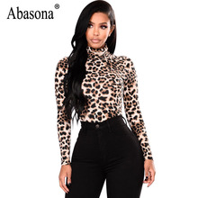 Abasona Leopard Women t Shirt Long Sleeve Turtleneck Women Tops Autumn Winter Sexy Tee Shirt Femme Party Club Tee Top Female(China)