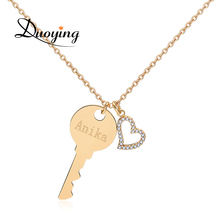 Duoying Brand Personalized Chocher Necklace Hart Key Custom Name Necklace Supplier for Ebay Amazon Engrave different Language(China)