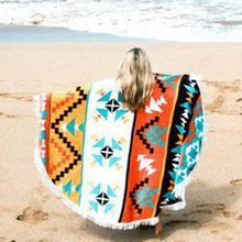 2017 New Bohemia Style Round Sand Beach Towel 160CM Summer Sport Microfiber Bath Towels Large Tassel Lawn Outdoor Yoga Cushion