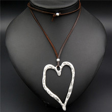 1pc Zinc Alloy Hollow Heart Shape Leaf Charms Necklace Carved Pendant Suede Leather Diy Jewelry(China)