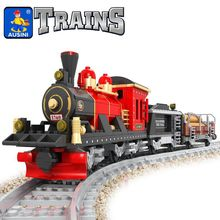 Model building kits compatible with lepin city train rail 009 3D blocks Educational model building toys hobbies for children