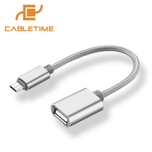 Cabletime Micro USB OTG Cable OTG Adapter Nylon Wire Android Tablet Pc to Flash Mouse Keyboard For Samsung Sony Smartphone N074