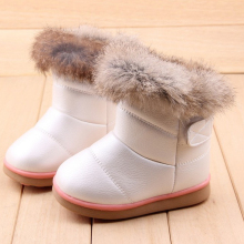 2016 New Winter Girls PU Leather Snow Boots Toddlers Genuine Rabbit Fur Children Shoes Fashion Wings Warm Plush Kids Ankle Boots