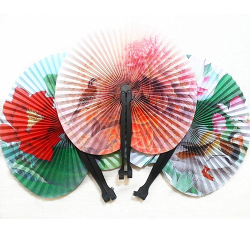 3Pcs Foldable Chinese Oriental Floral Paper Hand Fans Wedding Table Favors Random Pattern(China (Mainland))