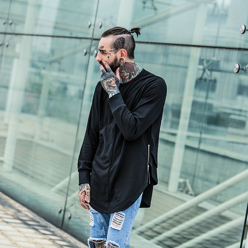Cross Printed Hip Hop Sweatshirt Men 17Spring Streetwear Curved Hem Side Zipper Plain Mens Sweatshirts and Hoodies Man Clothes 6