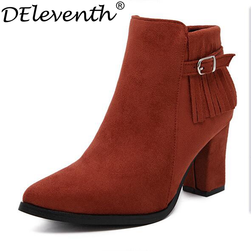 2017 British Style Brand Buckle Decoration Pointed Toe Zipper Ankle Boots High Heels Tassels Nubuck Leather Square Heels Shoes<br><br>Aliexpress