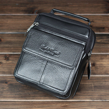 Genuine leather male handbags high quality real cowhide business men messenger bags casual travel shoulder bag(China)
