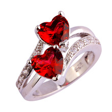 Half Price Flash Sales Exquisite Red Heart Cut Stone Hollow Love Silver Ring Size 9 Rings For Woman Wedding Gift(China)