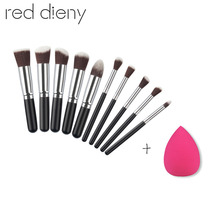 10pcs/set Foundation Powder Makeup Brush Set Blusher Contour Eyeshadow Eyebrow Eye Lips Makeup Brushes With Sponge Puff For Free