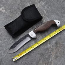wooden handle knife titanium version of high hardness rescue knives tools with nylon Sheath