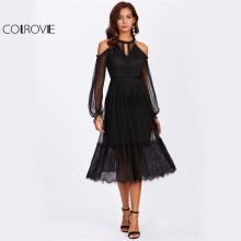 Buy COLROVIE Open Shoulder Cutout Front Mesh Overlay Eyelash Hem Dress Black Cold Shoulder Long Sleeve Halter Elegant Party Dress for $23.99 in AliExpress store