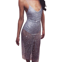 Summer dress for women 2017 Sexy Club Women sequins Dresses Silver Gold bodycon vestidos Sexy party night clothing