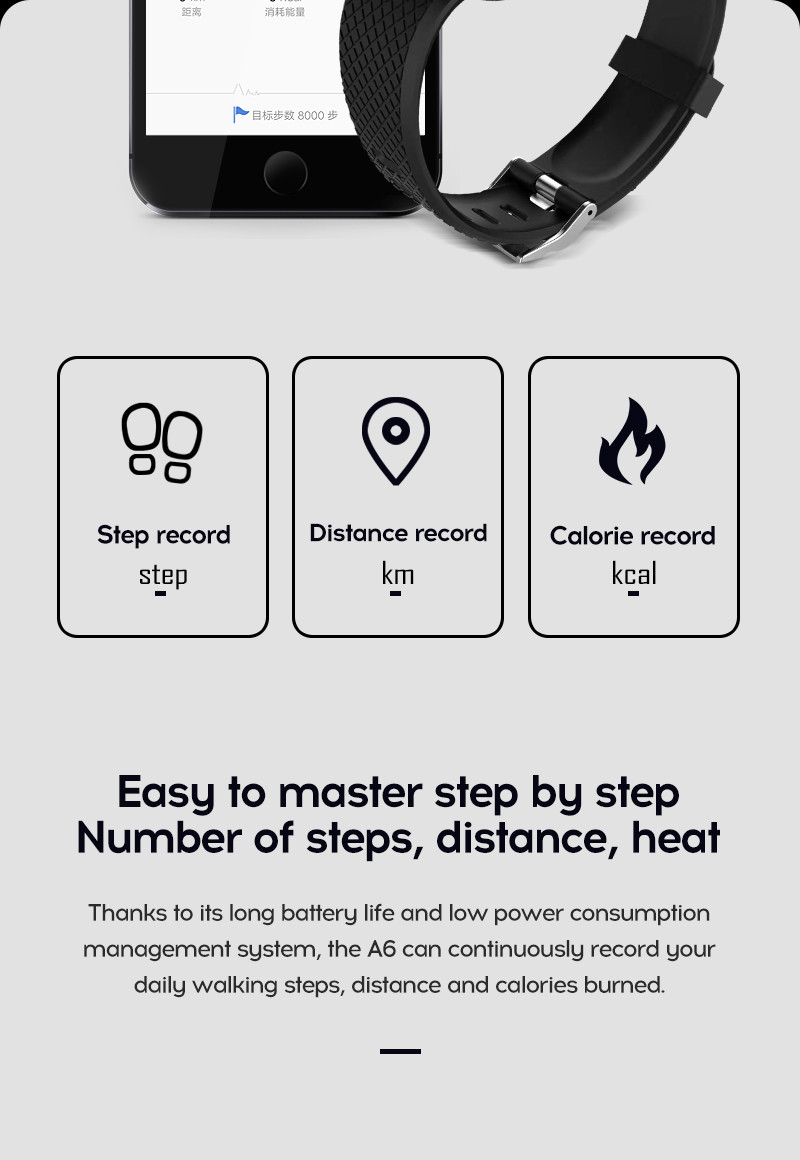 LYKRY A6S Smart Bracelet Fitness Tracker Heart Rate Blood Pressure Monitor Smart Band IP67 Waterproof Sports For Android IOS+Box (7)