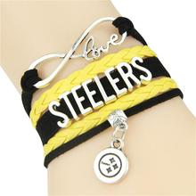 Infinity Love Pittsburgh Steelers bracelet football team Charm bracelet & bangles Sport Sport women men jewelry Drop Shipping(China)
