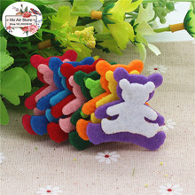 3.4CM Non-woven patches bear two-double Felt Appliques for clothes Sewing Supplies diy craft ornament