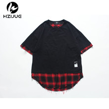 HZIJUE 2017 summer brand tshirt hip hop clothes Original Design street style hole scratches Personality Fake two pieces man Tees