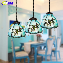 FUMAT Stained Glass Pendant Lamp Mediterranean Style Tiffany Brief Blue Orchid Glass Art Lamp Living Room Dining Room Lights(China)