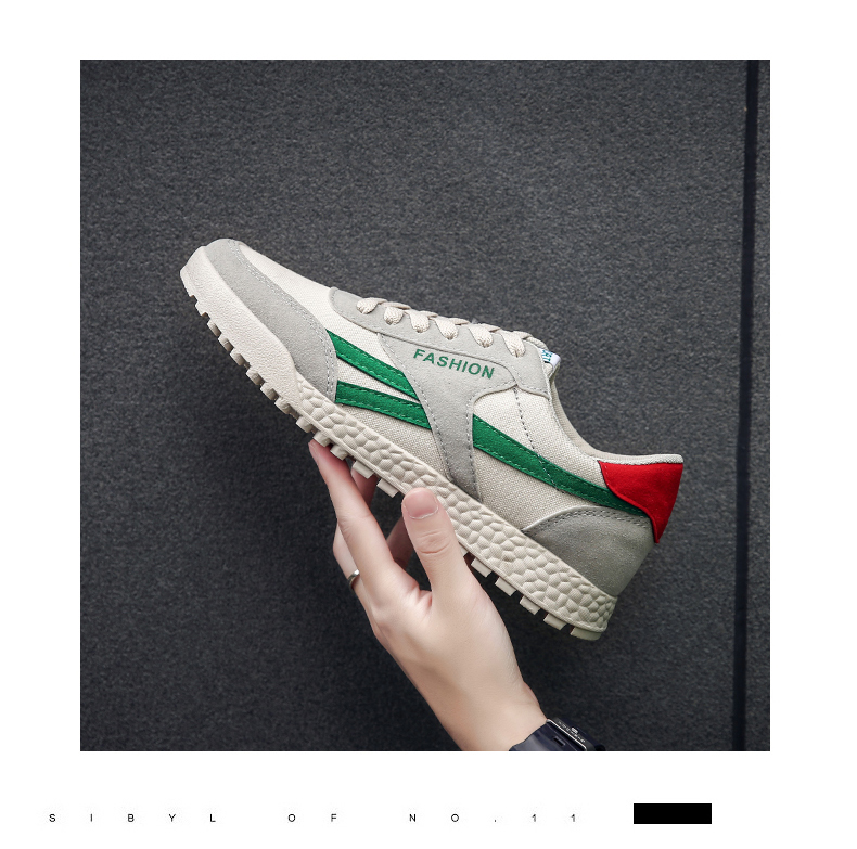 New Fashion Casual Flat Vulcanize Shoes For Men Breathable Lace-up Shoes Footwear Striped Shoes Flax And Cattle Cross Stitching 17 Online shopping Bangladesh