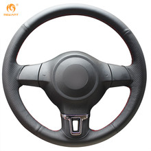 MEWANT Black Artificial Leather Car Steering Wheel Cover for Volkswagen Golf 6 Mk6 VW Polo MK5 2010-2013(China)