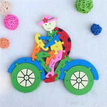 Bicycle bike Wooden Jigsaw Puzzle Double Sides 26 Alphabet Letter and Numbers  Children Kids Mathematics ABC / 123 Toy