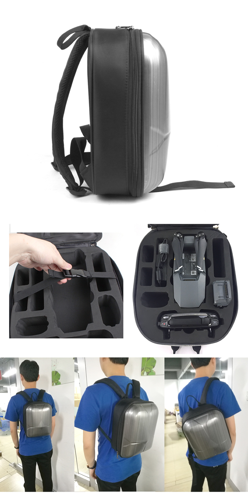 DJI Mavic Pro PC Hard Shell Backpack Drone Mini Travel Case Storage Waterproof Shoulder Bag Accessories Carrying Bag Quadcopter