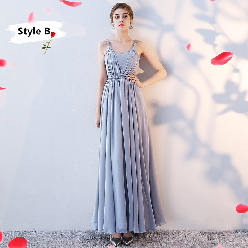 SOCCI Weekend Long Bridesmaid Dresses 2017 Sliver Sleeveless Sister Dress Grey Off shoulder Formal Wedding Party Gowns Robe de 12