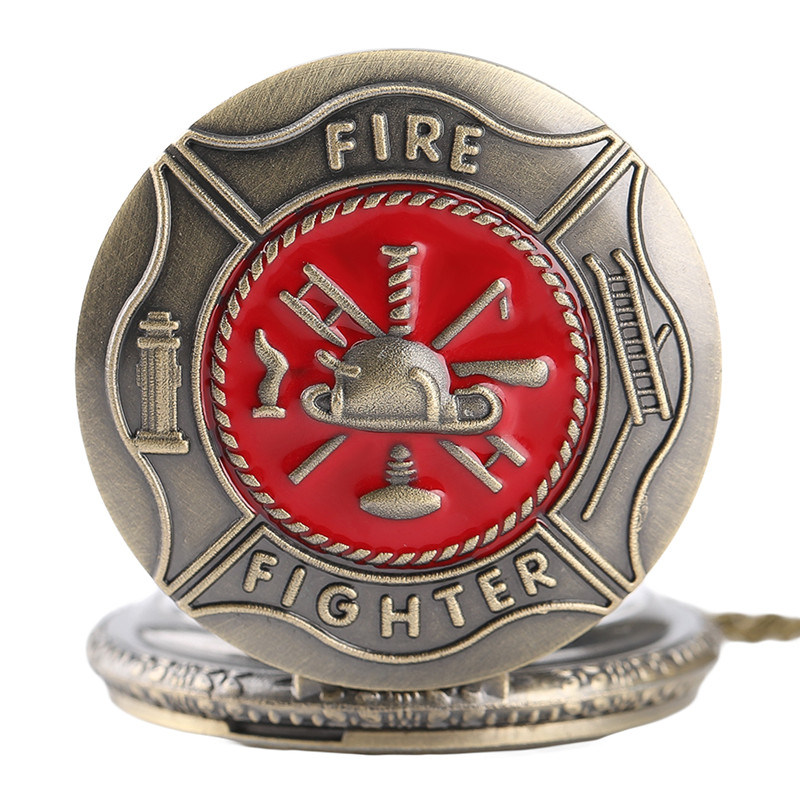 Antique Bronze Pocket Watch Classic Red Fire Fighter Symbol Carving Slim Necklace Creative Students Boys Clock Best Fireman Gift (4)