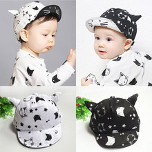 Baby Autumn Hats Baby Girl Boy Cartoon Cat Kitty Design Cap Flat Caps with Ox Horns Infantile Baseball Hat Newborn Accessories