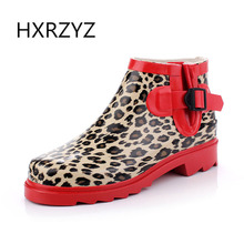 HXRZYZ women rain boots ladies buckle leopard ankle boots spring/autumn fashion low heel red bottom slip resistant women shoes(China)