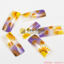 100 Beauty Acrylic Nails Endearing Sunflower Style Fake Half Nail Tips Plastic False French Nail Art Tips For UV Gel Design
