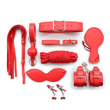 Buy 8 pcs/kit Sex Bondage Kit Set,Sex Products,Red PU Leather Fetish bdsm Bondage Restraints,Hand Cuffs,Sex Toys Couples